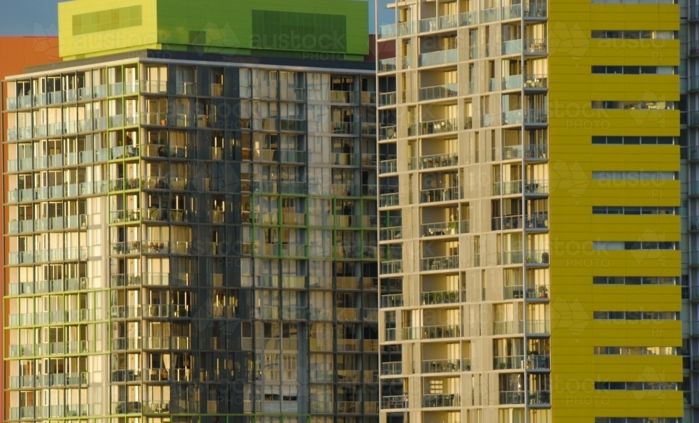 Close up of Apartment Blocks in Sydney - Australian Stock Image