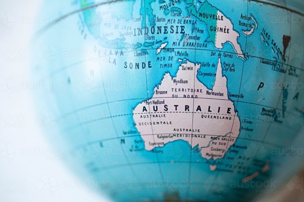 Australia Map Globe.Image Of Close Up Of World Globe With Map Of Australia Written In