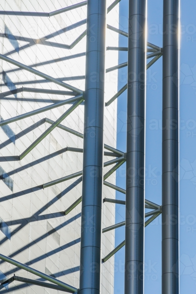 Close up view of metal framework details on the side of a building - Australian Stock Image
