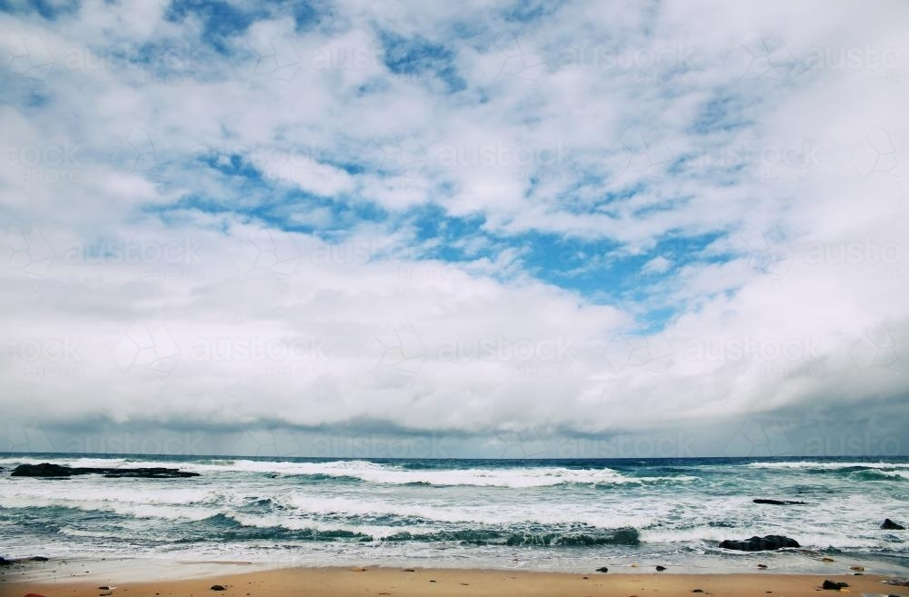 Cloudy Beach - Australian Stock Image