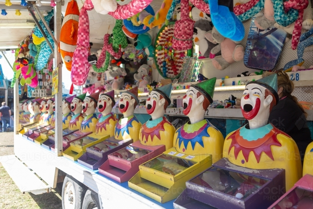 Clowns in sideshow alley - Australian Stock Image