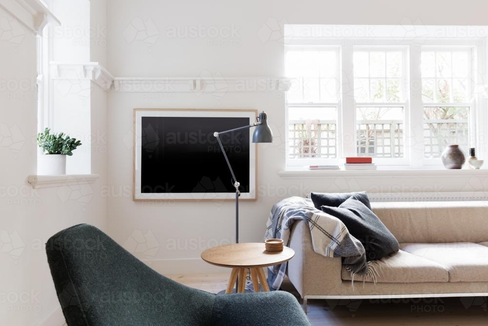 Image Of Contemporary Scandi Styled Living Room In Art Deco Apartment Austockphoto