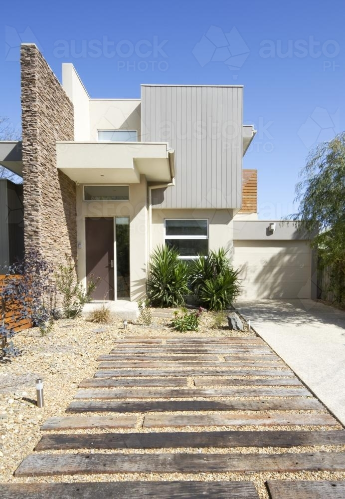 Contemporary townhouse home facade and driveway - Australian Stock Image
