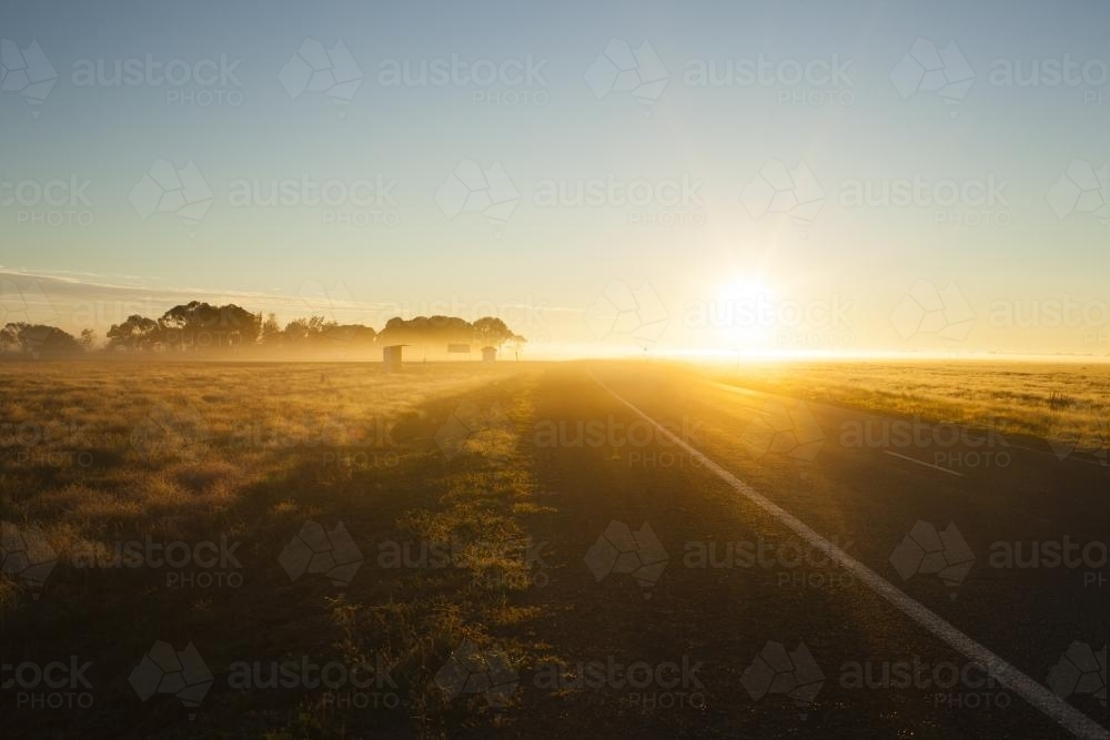 Country highway at Sunrise - Australian Stock Image