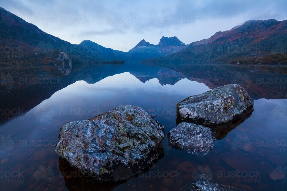 Cradle Mountain and Dove Lake - Cradle Mnt Lake St Clair N.P. - Tasmania - Australian Stock Image
