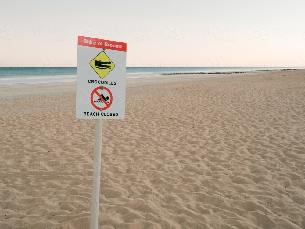 Crocodile Warning Sign on Deserted Cable Beach - Australian Stock Image