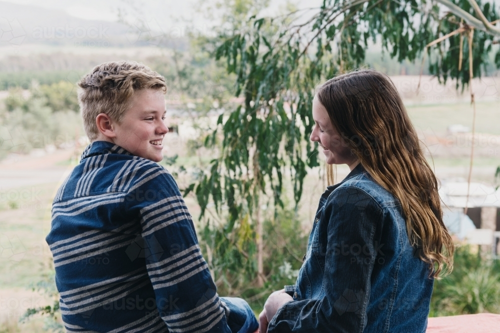 cute young teen couple - Australian Stock Image
