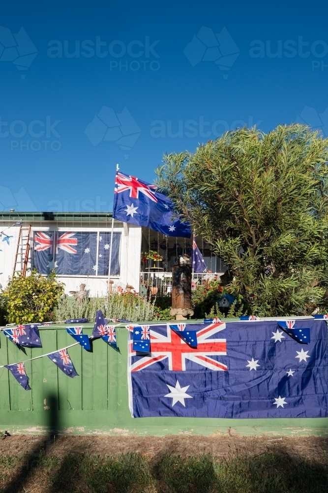 Decorated house for Australia Day celebrations - Australian Stock Image