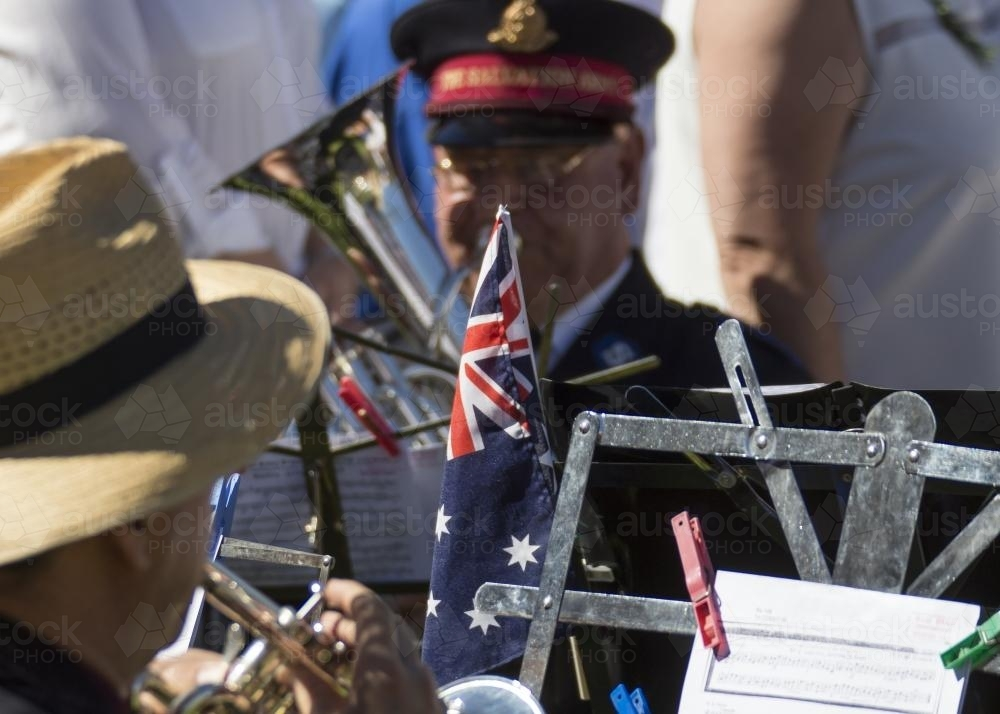 Detail of brass band playing on ANZAC Day - Australian Stock Image