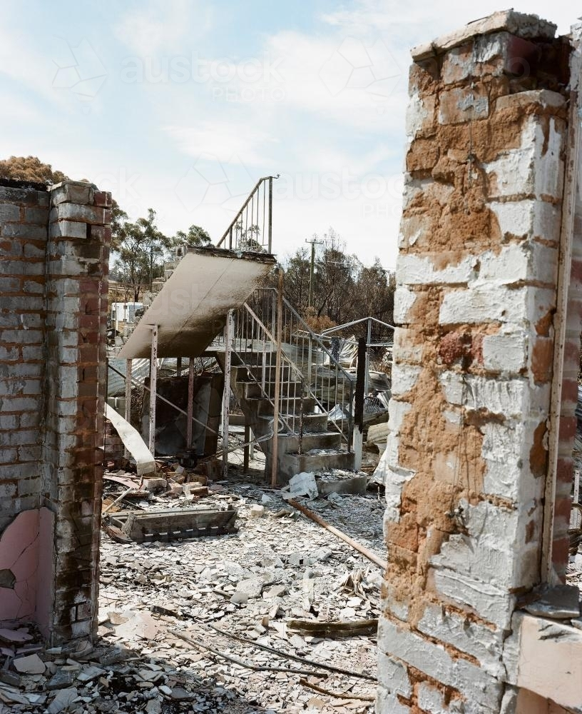 Detail of house destroyed by bush fire - Australian Stock Image