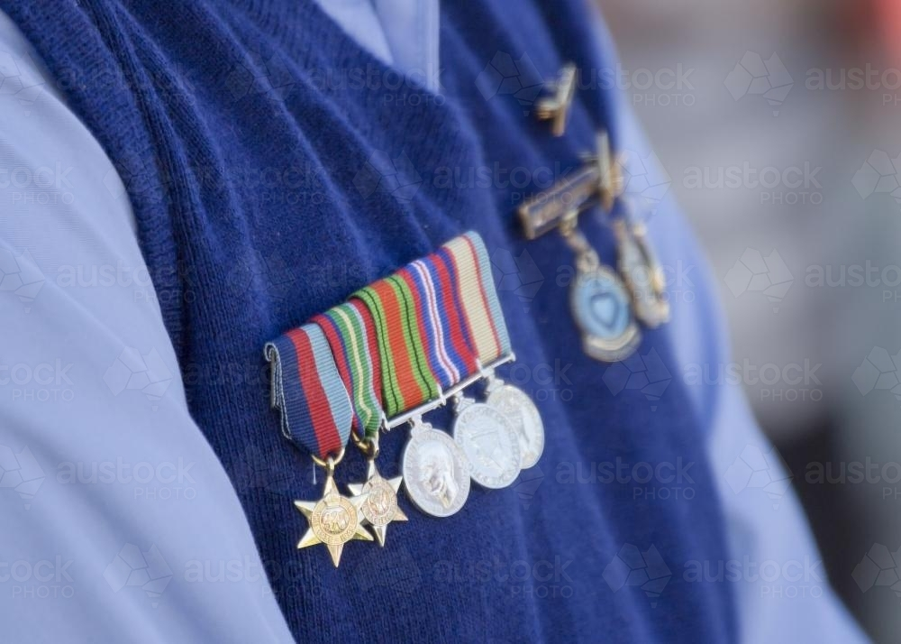 Detail of war medals on ANZAC Day - Australian Stock Image