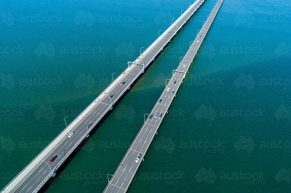 Diagonal aerial view of two bridges. - Australian Stock Image