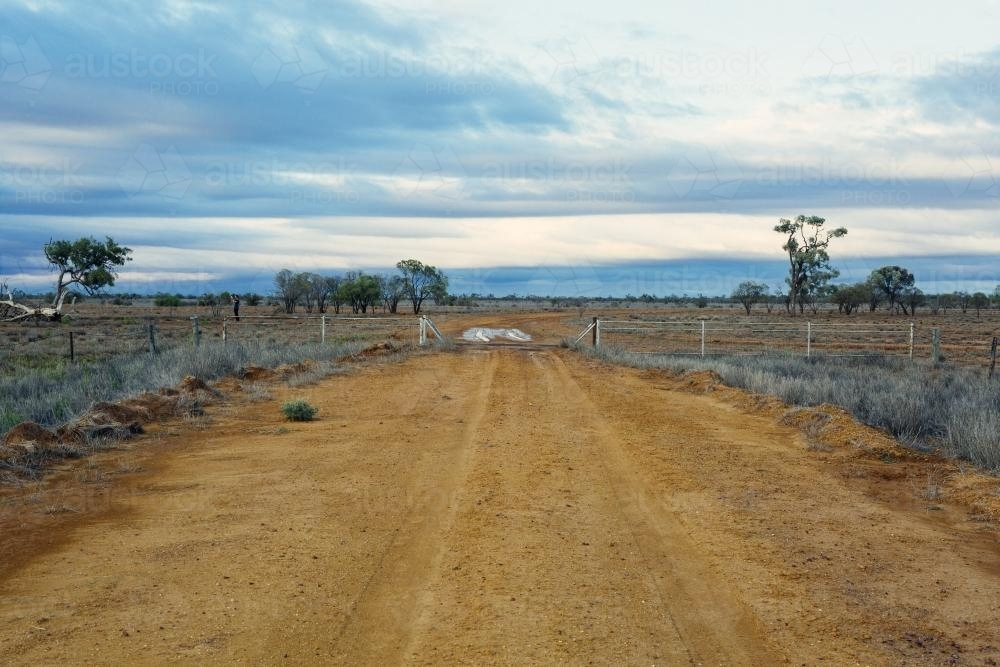 Dirt road leading over cattle grid onto remote property - Australian Stock Image