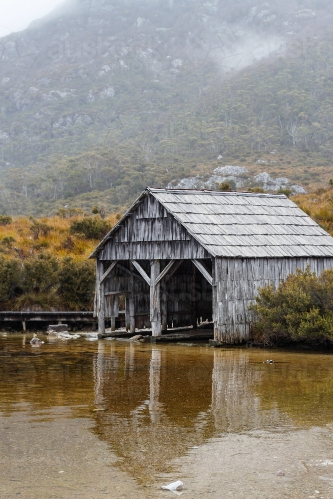 Dove Lake Boatshed in Cradle Mountain National Park - Australian Stock Image