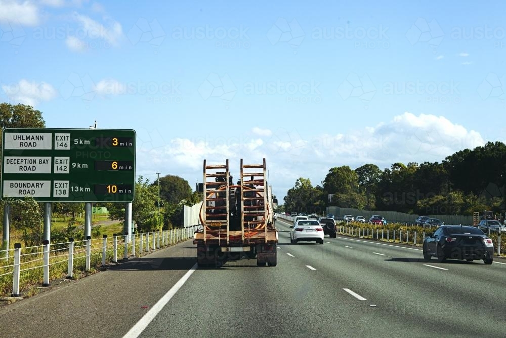 Driving down the motorway from the Sunshine Coast to Brisbane - Australian Stock Image