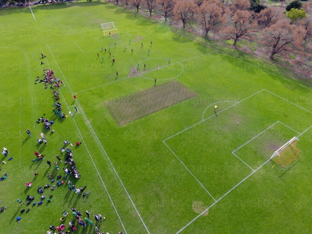 Drone Photo Of Soccer Pitch And People Below