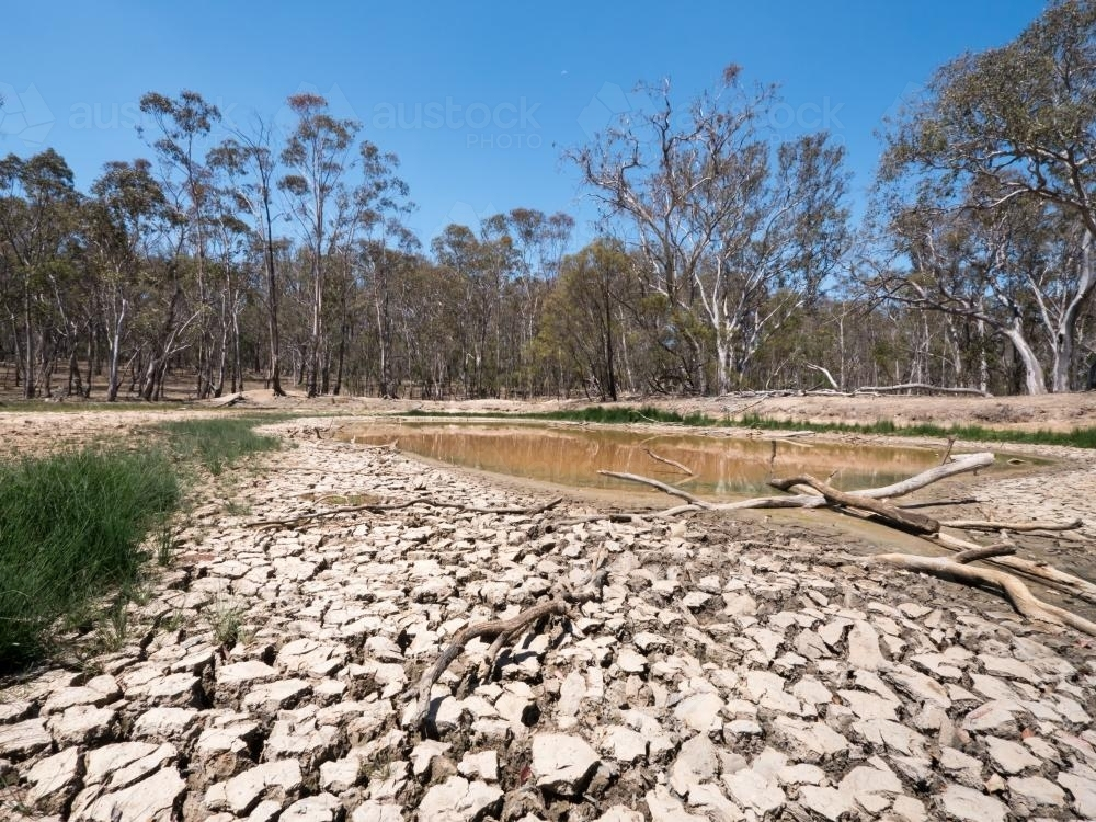 Dry mud flats leading to a dam - Australian Stock Image