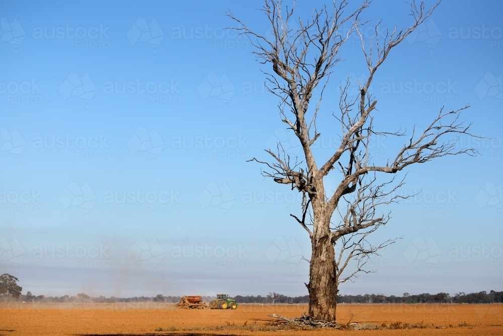 Dry sowing a winter crop - Australian Stock Image