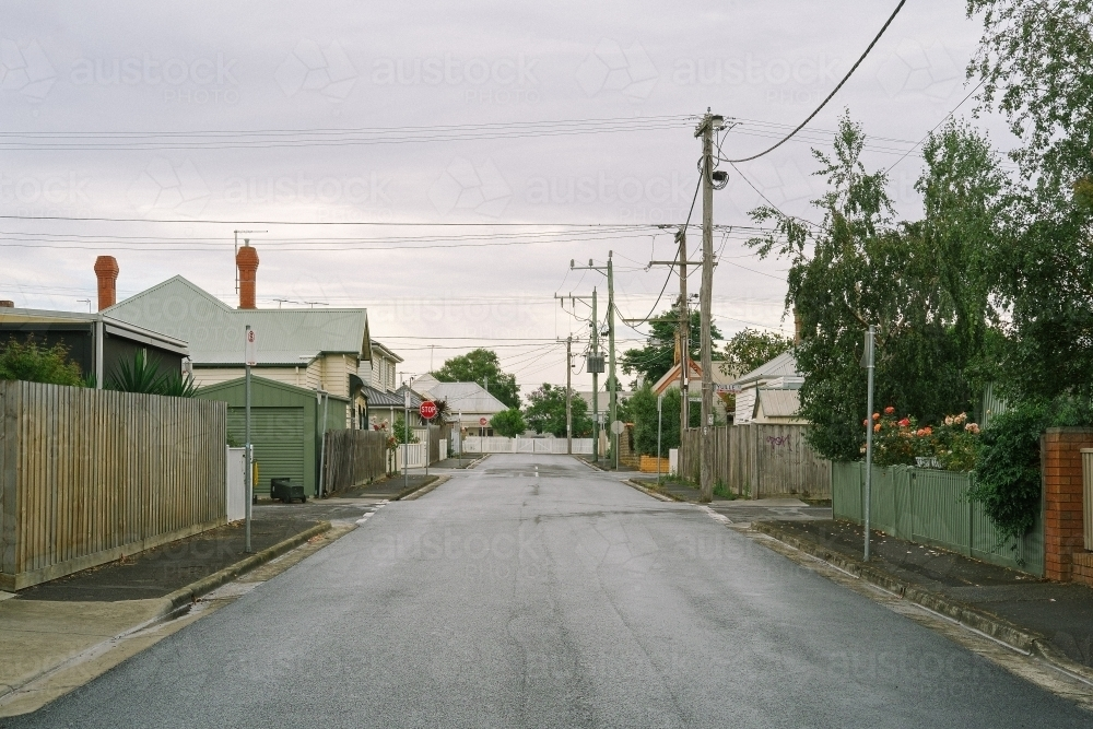 Early morning view down an empty suburban street - Australian Stock Image