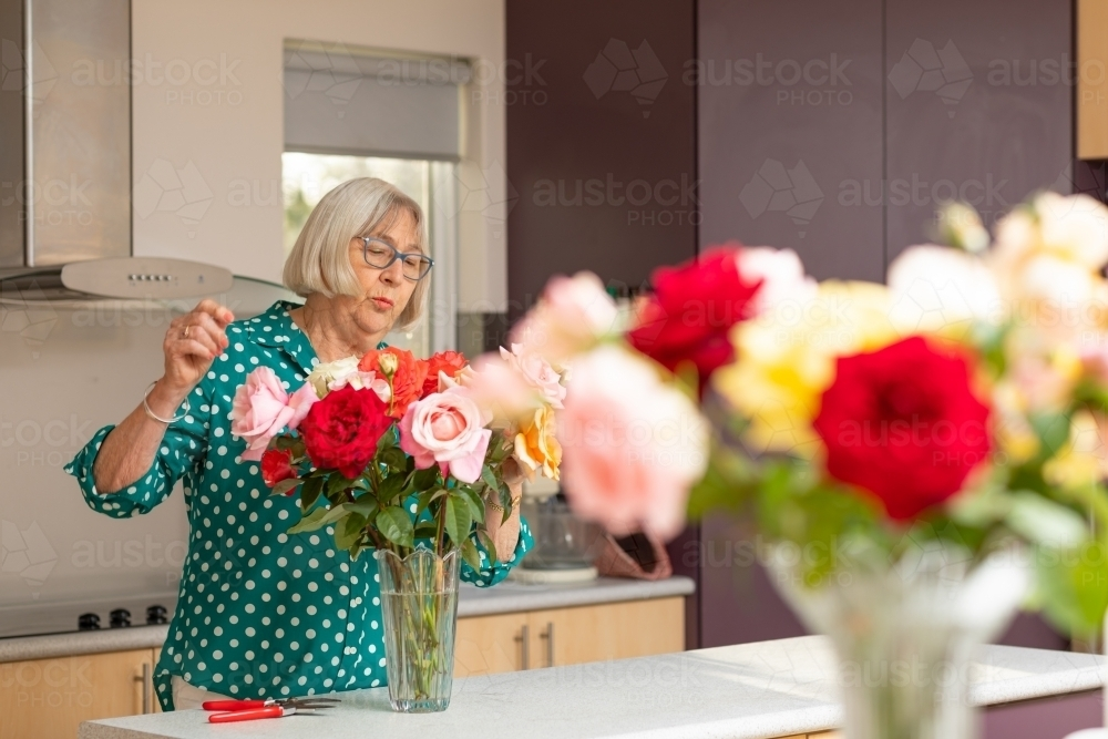 elderly lady arranging roses in vase in kitchen - Australian Stock Image
