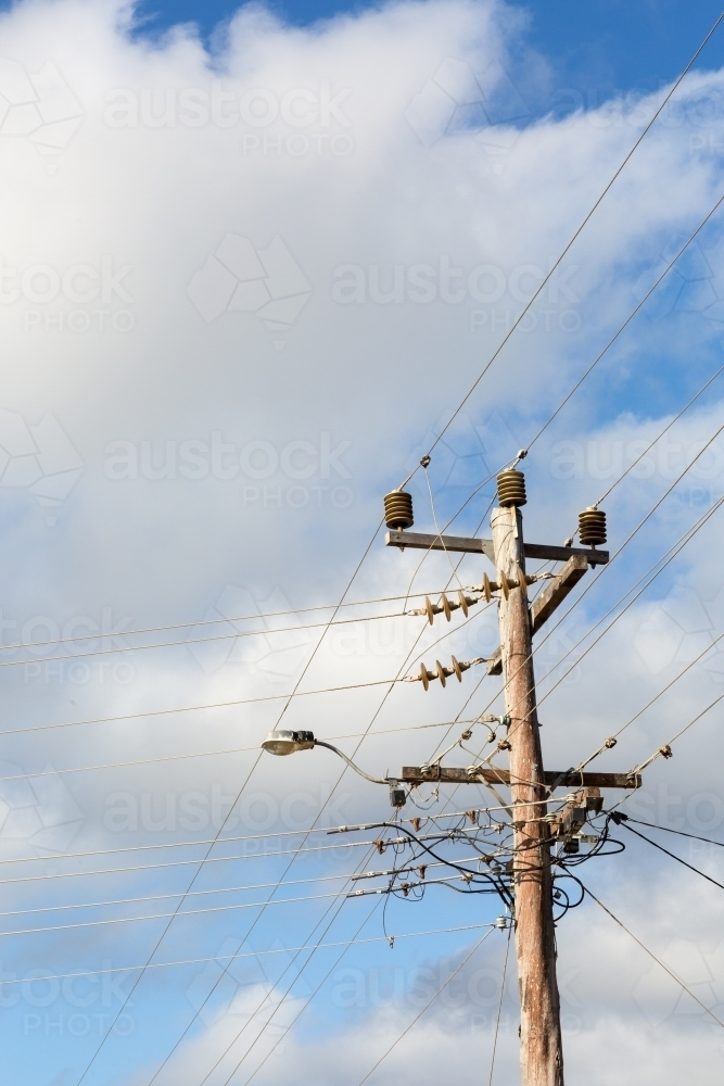 Electricity wires and power pole - Australian Stock Image