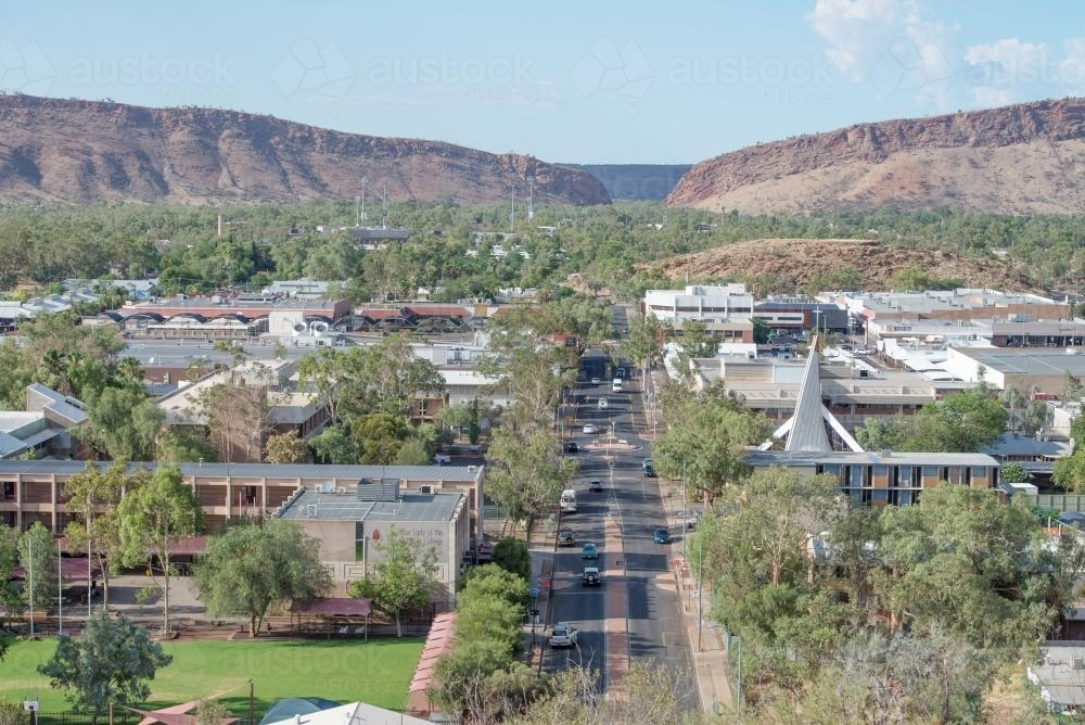 Elevated view of Alice Springs from ANZAC Hill, looking south - Australian Stock Image