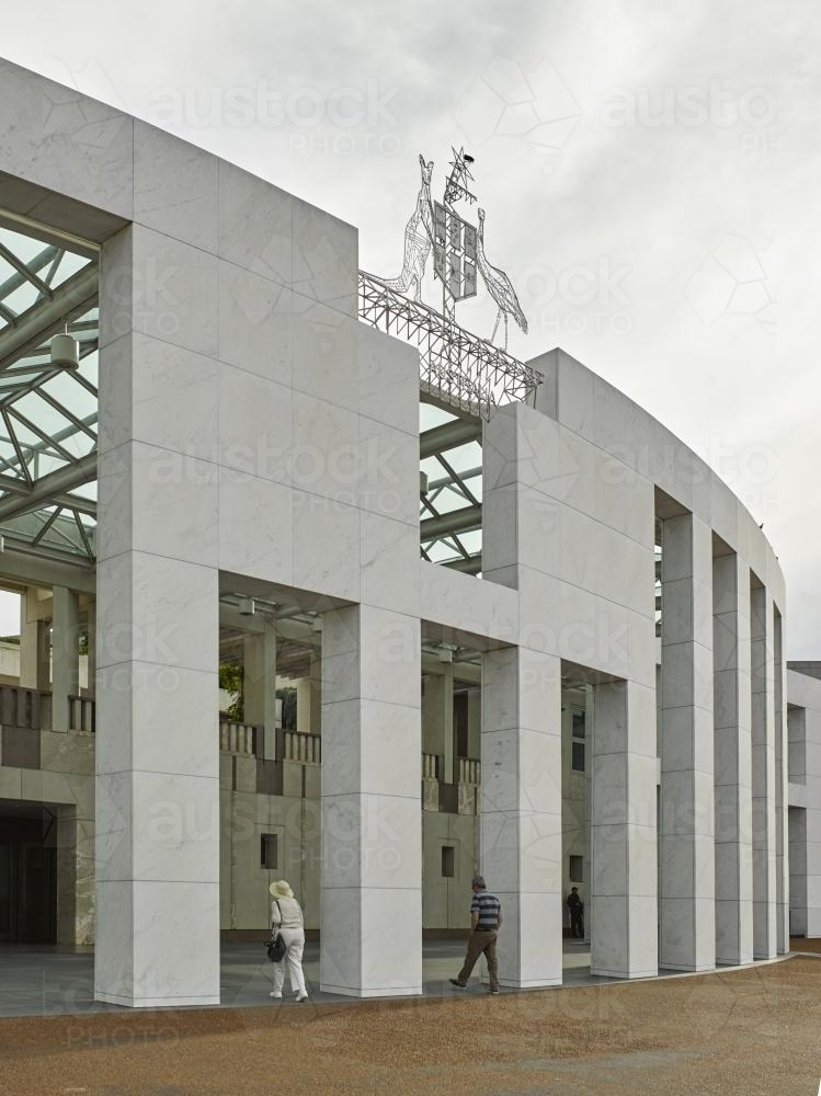 Entrance to Parliament House on overcast day - Australian Stock Image