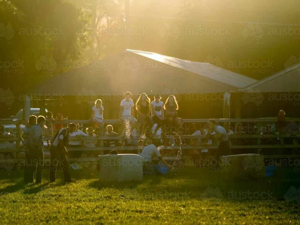 Farm activities competition just before sunset at Walcha Show - Australian Stock Image