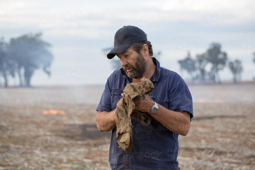 Farmer wiping hands on dirty cloth with burning stubble in background - Australian Stock Image