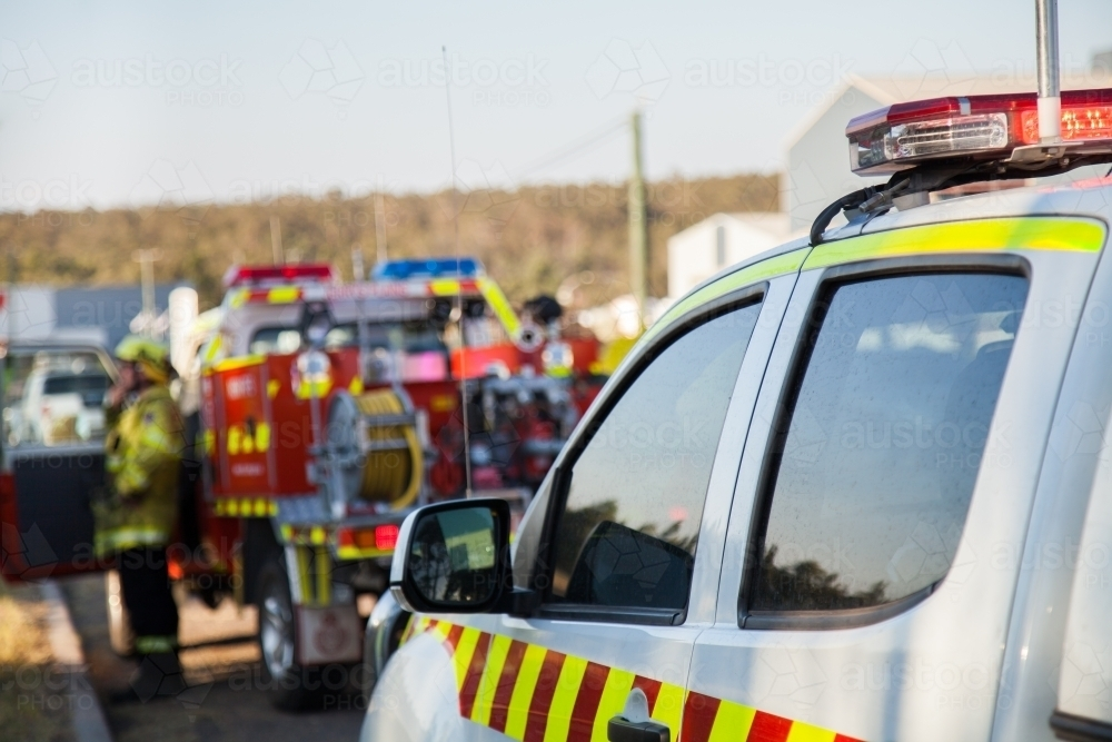Fire service emergency vehicle with red and blue lights - Australian Stock Image