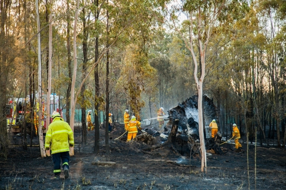 Firefighters putting out a fire in bushland - Australian Stock Image
