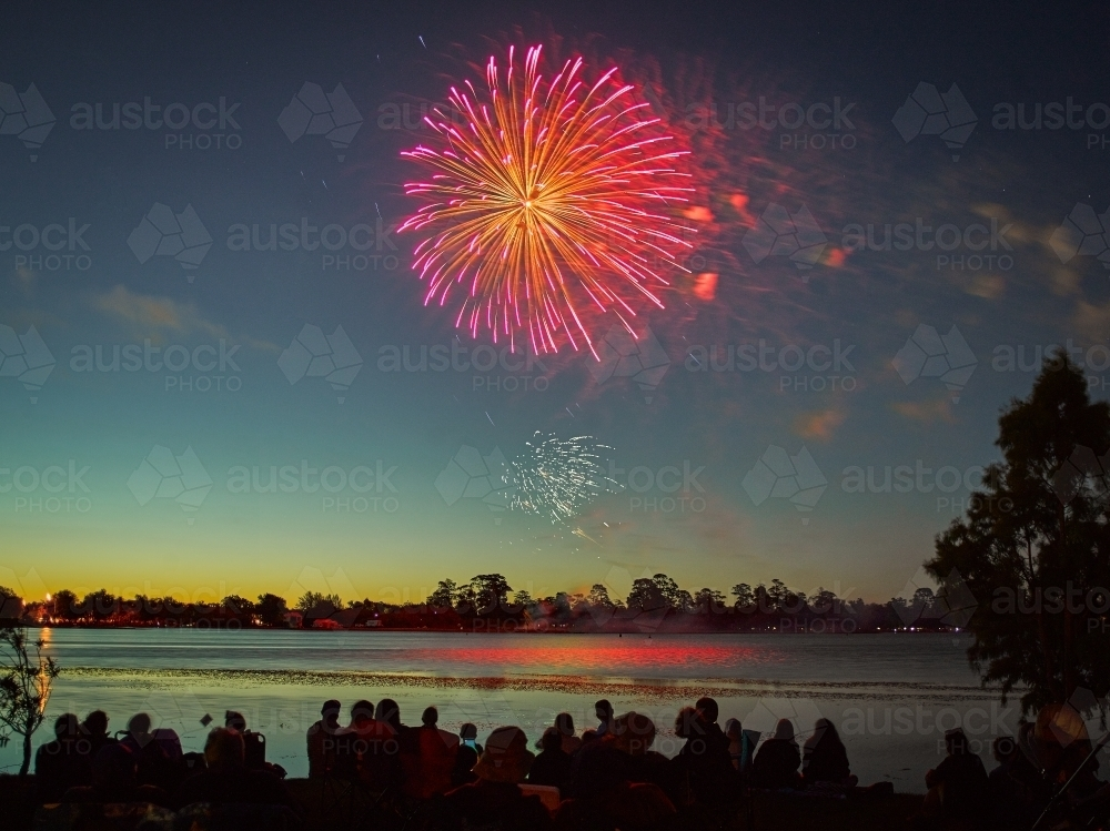 Fireworks by a lake on Australia Day - Australian Stock Image
