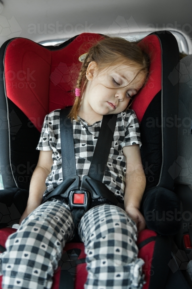 Image Of Four Year Old Child Strapped Into Her Car Seat