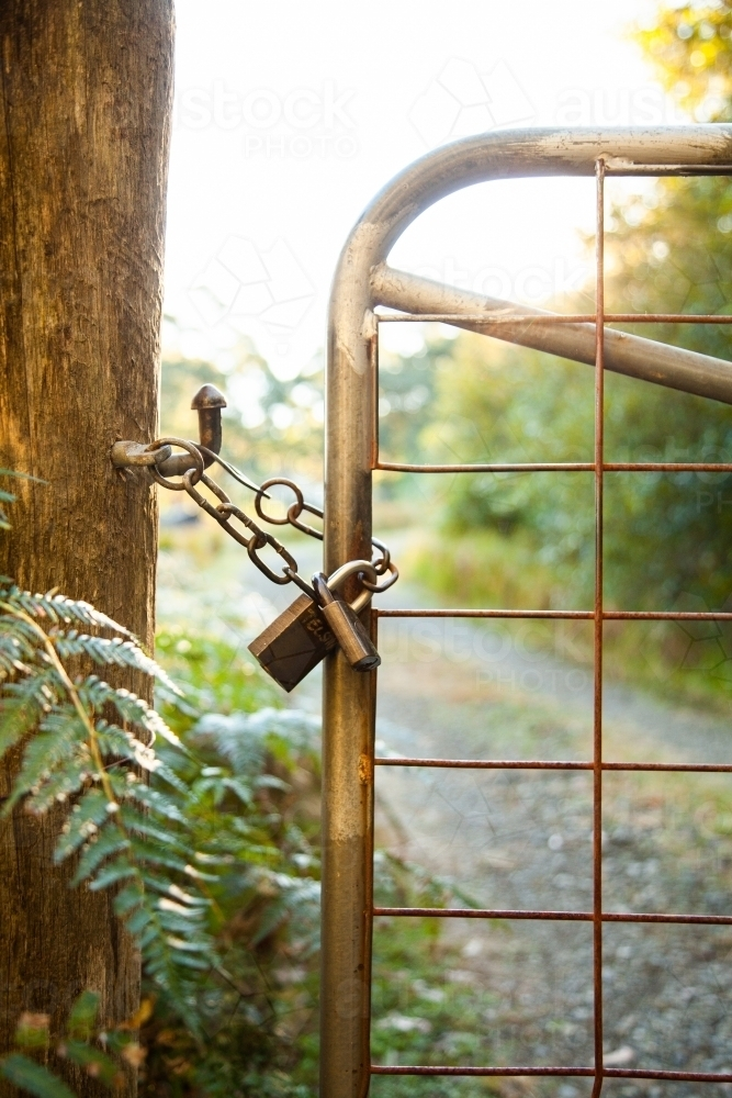 Front gate of property with chain latch and lock on gate - Australian Stock Image