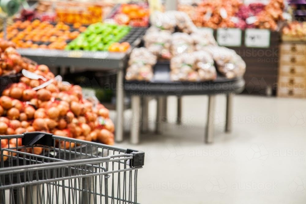 Front of a shopping trolley in the grocery section of the supermarket - Australian Stock Image