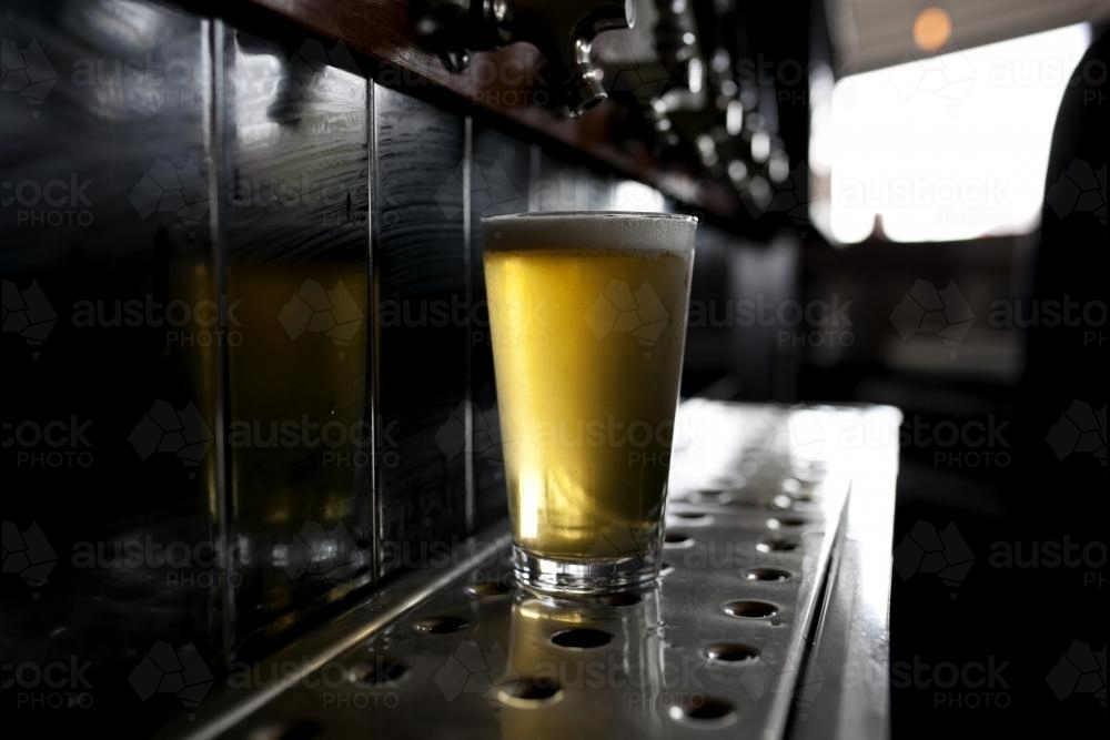 Full glass of beer poured from tap at local craft beer bar - Australian Stock Image