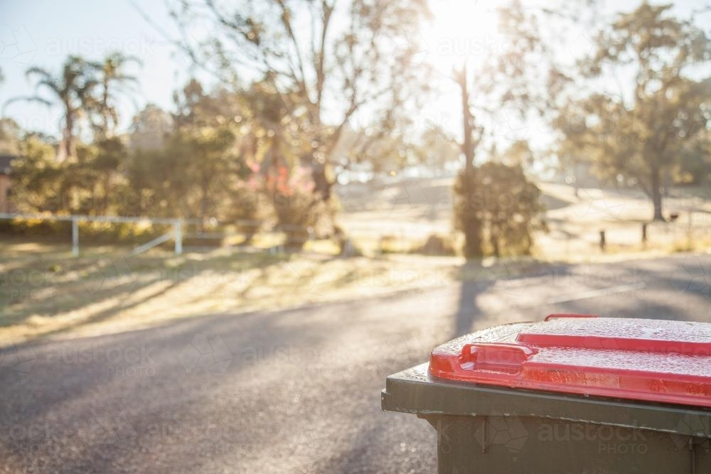 Garbage bin on the roadside early in the morning - Australian Stock Image