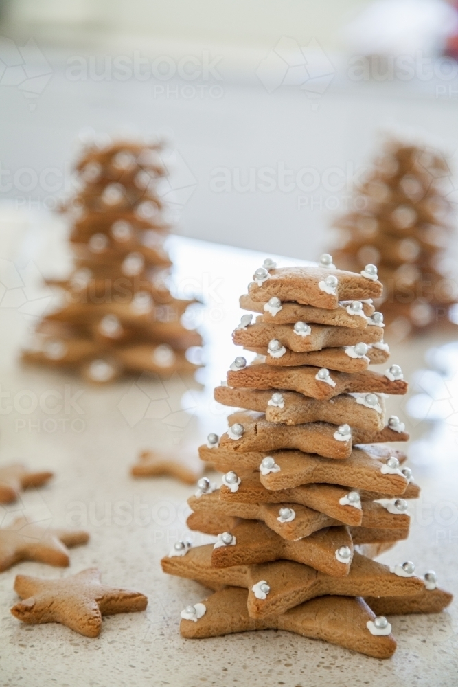 Image Of Gingerbread Christmas Trees Made With Star Biscuits