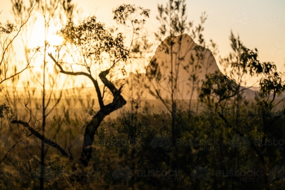 Glasshouse Mountains Landscape at Sunset - Australian Stock Image
