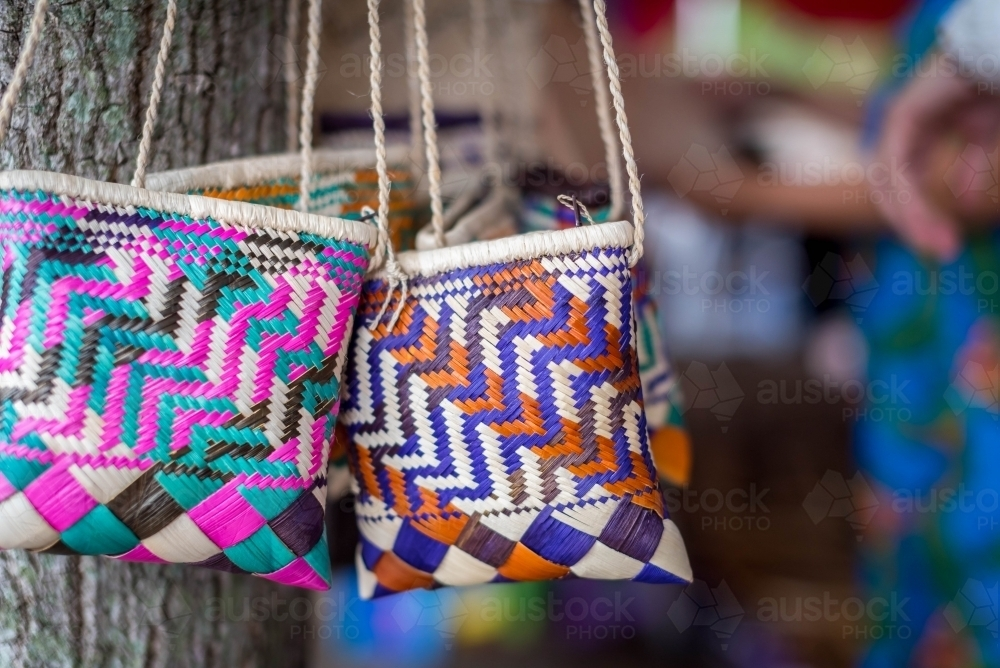 Hand made woven bags - Australian Stock Image