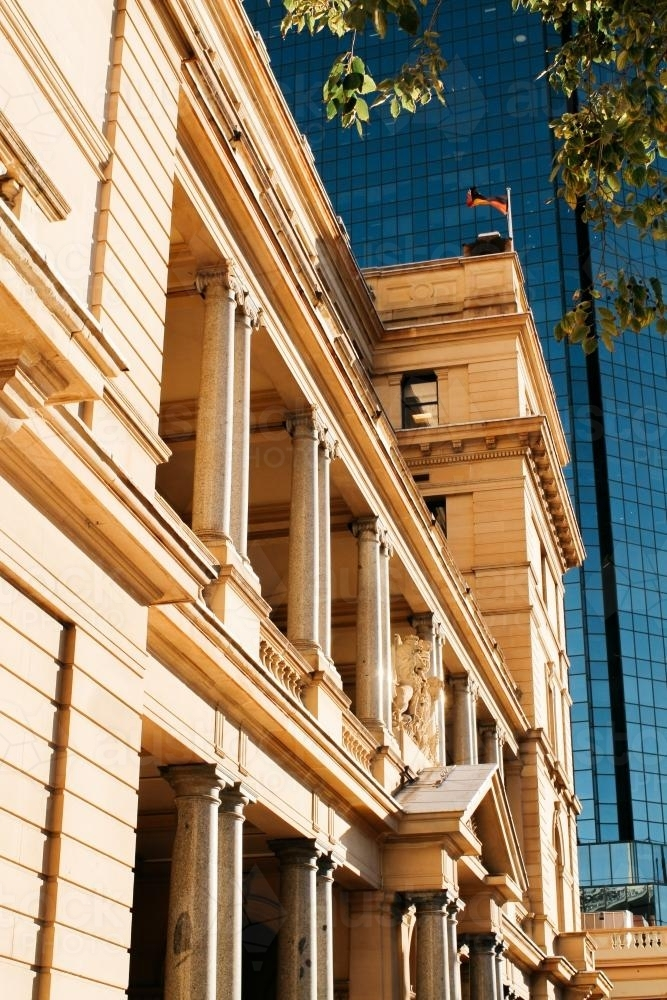 Heritage Sydney Building with Modern High Rise in Background - Australian Stock Image
