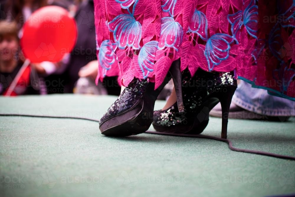 High heels of a drag queen on stage - Australian Stock Image