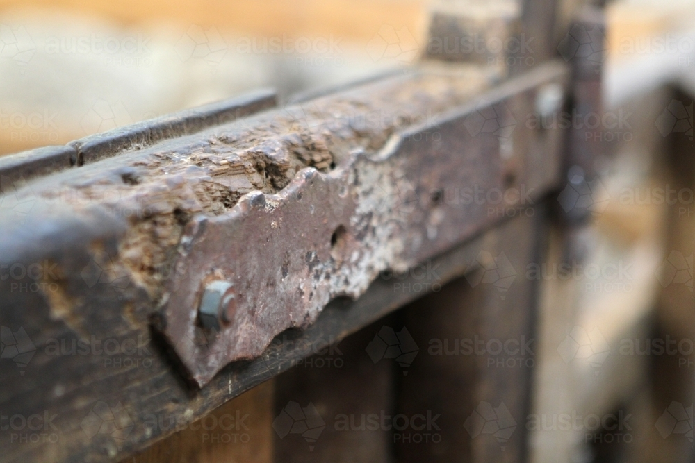 Hinge on gate in old woolshed - Australian Stock Image