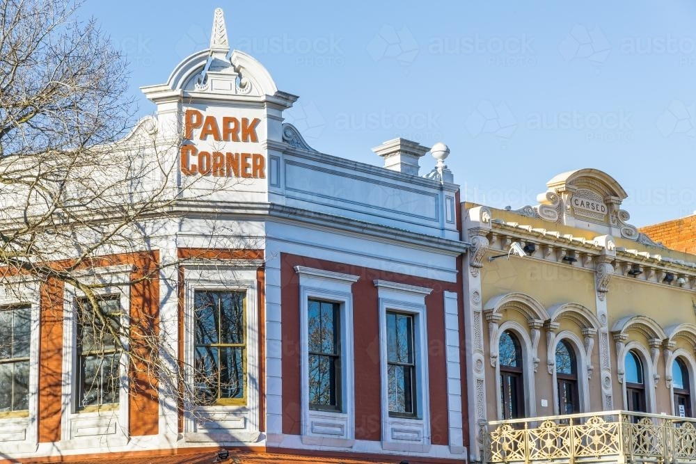 Historic building facades on a corner in Bendigo - Australian Stock Image