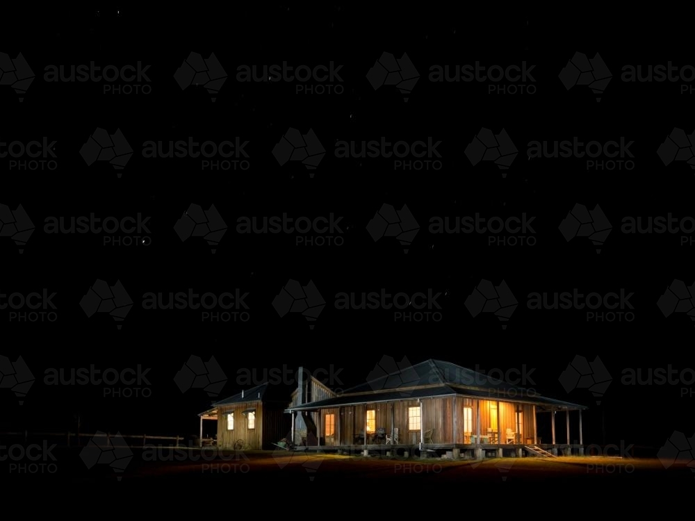 Homestead in a pitch black night - Australian Stock Image