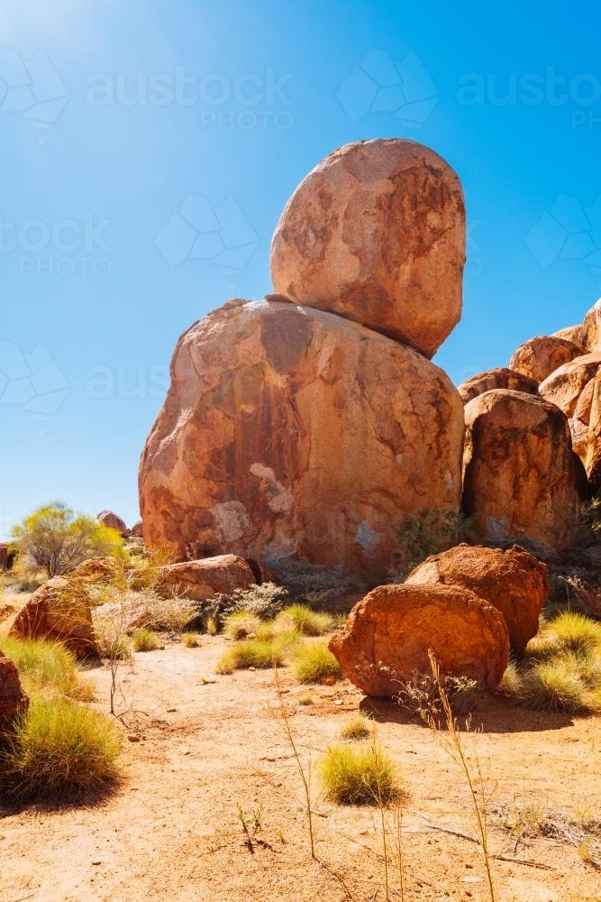 Iconic Australian landmark, the Devil's Marbles in the Northern Territory - Australian Stock Image