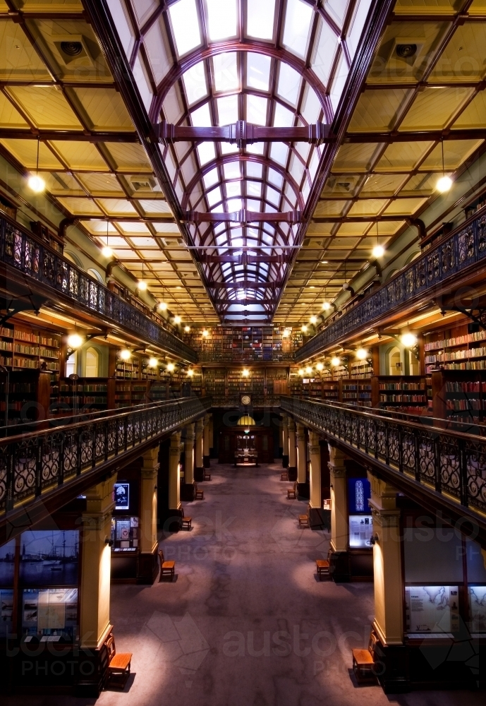 Inside Mortlock wing of State Library of South Australia - Australian Stock Image