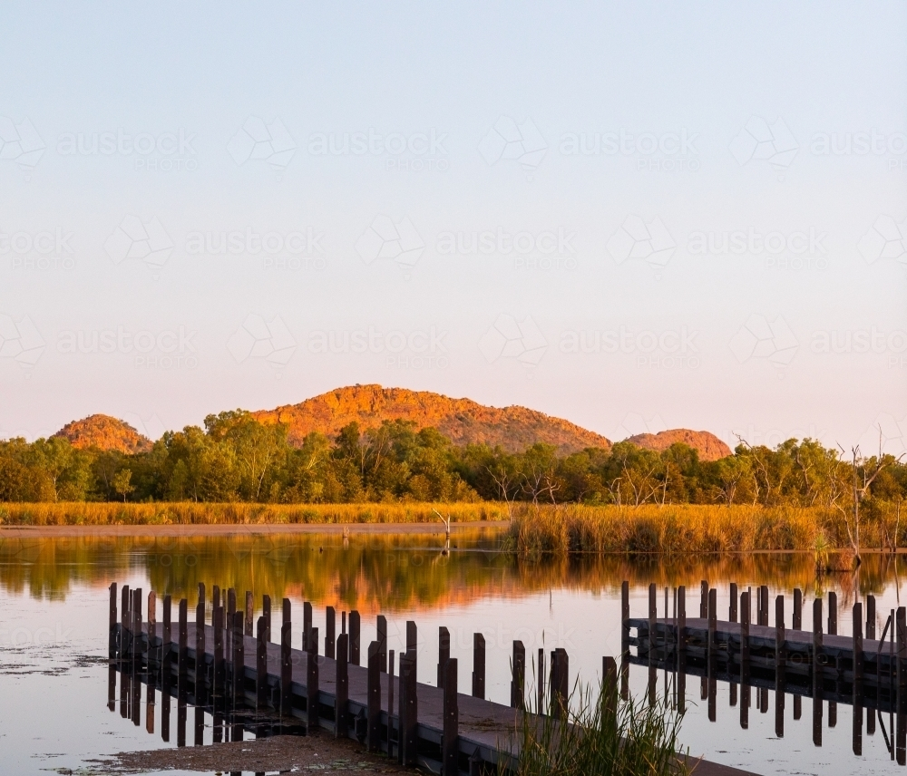jetties on lily creek lagoon at Kununurra - Australian Stock Image