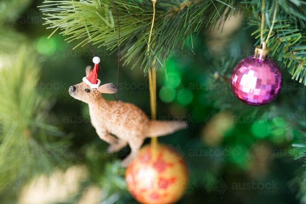 kangaroo and santa hat decoration on a christmas tree australian stock image