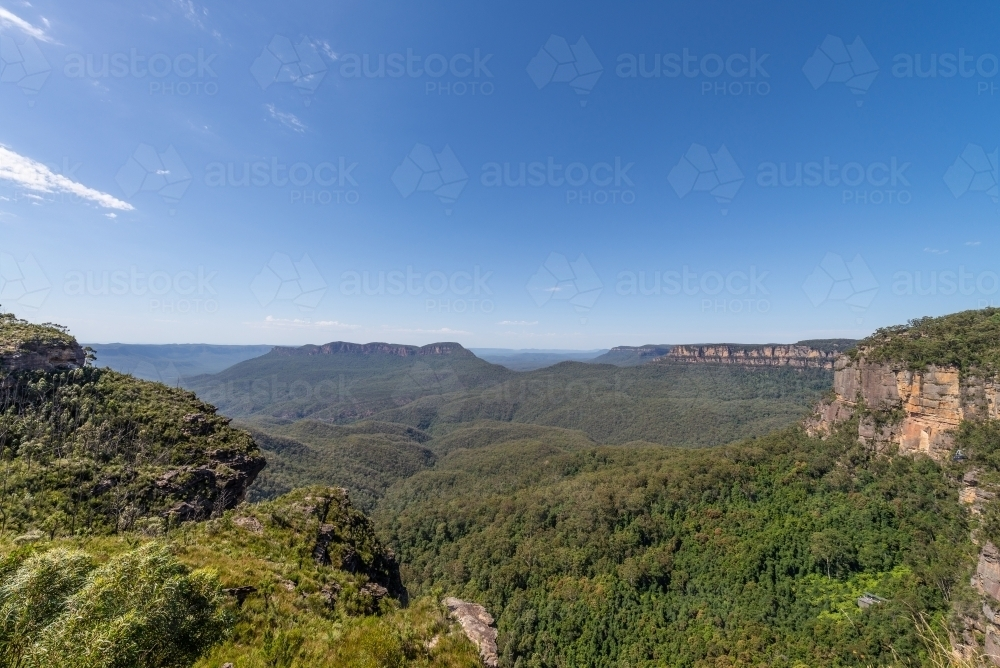 Katoomba, Blue Mountains with wide angle lens - Australian Stock Image